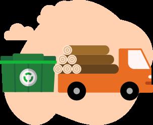 Piirroskuva kuorma-autosta joka tuo puu jätettä kierrätykseen