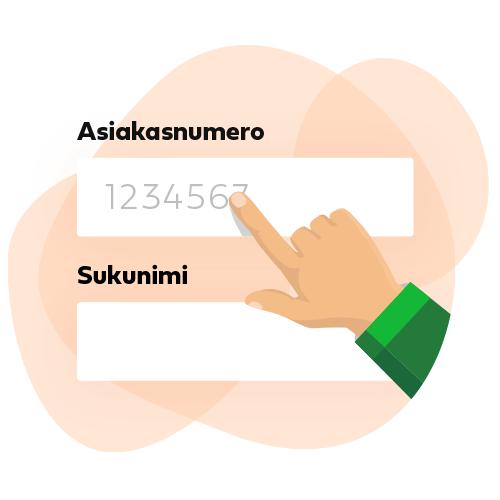 Piirroskuva jossa sormi osoittaa asiakasnumero lomakekenttää